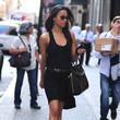 Zoe Saldana in a black tank dress by Lanston