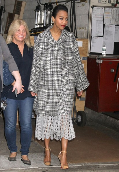 Zoe Saldana Tweed Coat
