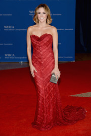 Keltie Knight looked sweet in a red lace strapless gown during the White House Correspondents' Association Dinner.