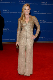 Lindsey Vonn was all sparkly in a beaded gold gown by Cynthia Rowley during the White House Correspondents' Association Dinner.