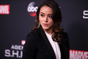 Chloe Bennet attended the 'Agents of S.H.I.E.L.D.' 100th episode celebration wearing her hair in an Old Hollywood-glam style.