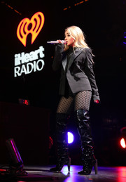 Sabrina Carpenter teamed a black Tom Ford blazer with a dotted catsuit for her performance at 101.3 KDWB's Jingle Ball 2017.