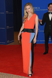 Brit Marling went the modern route in a Roksanda color-block peplum gown during the White House Correspondents' Association Dinner.