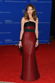 Michelle Monaghan went for futuristic glamour in a sleek, architectural-detailed red and black strapless gown by Prabal Gurung at the White House Correspondents' Association Dinner.