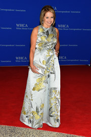 Katie Couric was all about classic glamour in a sleeveless silver and yellow floral gown at the White House Correspondents' Association Dinner.