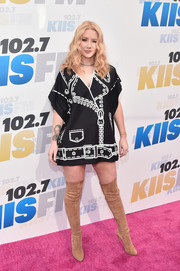 Iggy Azalea got a little playful for her KIIS FM Wango Tango look, choosing this black tunic printed with a jacket motif.