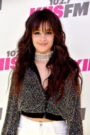 Camila Cabello showed off long, lush waves with wispy bangs while attending KIIS FM's Wango Tango 2017.