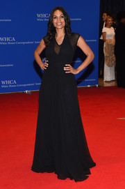 Rosario Dawson opted for a simple black sheer-panel gown when she attended the White House Correspondents' Association Dinner.