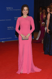 Sophia Bush was sweet and demure at the White House Correspondents' Association Dinner in a long-sleeve pink Michael Kors gown with lace inserts along the skirt.