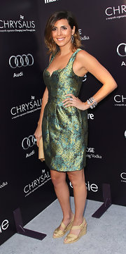 Jamie-Lynn Sigler gave her metallic green floral dress a summery twist with gold espadrille wedge sandals.