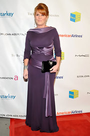 Sarah Ferguson arrived at the Elton John Foundation event in her fabulous floor-length gown.
