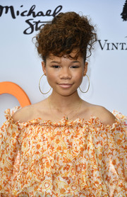 Storm Reid styled her hair into a curly updo for the Empathy Rocks fundraiser.