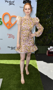 Madelaine Petsch paired her dress with basic nude sandals.