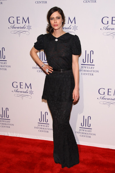 Anna Mouglalis wore a school girl inspired evening dress for the GEM Awards.