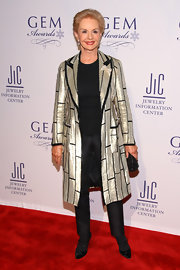 Carolina Herrera dazzled in a silver evening coat at the GEM Awards.