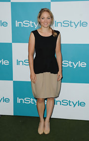 Erika looked simple chic at InStyle's Summer Soiree in a black and nude draped cocktail dress with a tie belt waist.