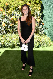 Lake Bell completed her outfit with black ankle-strap sandals.