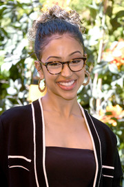 Liza Koshy wore her hair in a curly updo at the 2019 Veuve Clicquot Polo Classic Los Angeles.