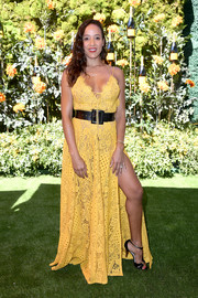 Dania Ramirez donned a yellow lace maxi dress by Michael Costello x Revolve for the 2019 Veuve Clicquot Polo Classic Los Angeles.