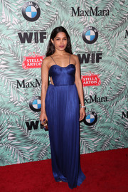 Freida Pinto looked divine in a royal-blue cutout gown by Maria Lucia Hohan at the Women in Film pre-Oscar cocktail party.