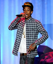 Wiz Khalifa gave an exciting performance at the BMI Urban Awards in a plaid shirt and Penguins baseball cap.