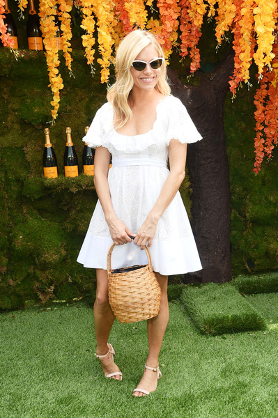 More Pics of Sienna Miller Straw Tote (1 of 2) - Straw Tote Lookbook - StyleBistro [clothing,white,shoulder,lady,dress,footwear,fashion,yellow,eyewear,street fashion,sienna miller,jersey city,new jersey,liberty state park,veuve clicquot polo classic,arrivals]