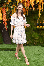 Sutton Foster dolled up in a pale pink off-the-shoulder dress by Shoshanna for the 2018 Veuve Clicquot Polo Classic.