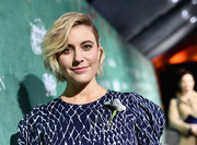 Greta Gerwig styled her hair into a half-pinned bob for the Women in Film pre-Oscar party.