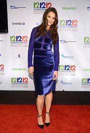 Katie Holmes was daring in this royal blue velvet and mesh number at the 12-12-12 benefit concert.
