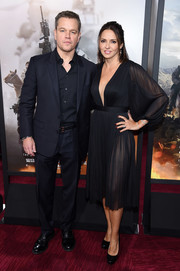 Luciana Damon attended the world premiere of '12 Strong' looking sultry in a sheer black dress with a plunging neckline.