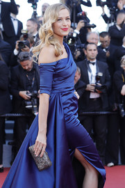 Petra Nemcova paired a metallic clutch by Ferragamo with a royal-blue gown for the Cannes Film Festival screening of '120 Beats Per Minute.'
