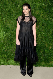 Lorde was pajama-chic in a Givenchy lace-panel LBD and matching pants at the CFDA/Vogue Fashion Fund Awards.