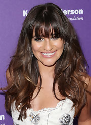 Lea Michele looked totally beachy cool with wavy tresses and blunt bangs.