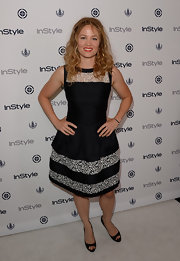 Erika Christensen chose a black and white lace dress for her classic two-toned look at the InStyle Summer Soiree in West Hollywood.