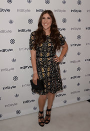 Mayim chose a cool Victorian floral-print dress for InStyle's Summer Soiree.