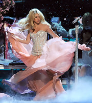 Shakira looked stunning for her Latin Grammy performance in a strapless stone encrusted gown.