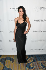 Emmanuelle Chriqui chose a slinky black satin gown for the Los Angeles Ballet Gala.