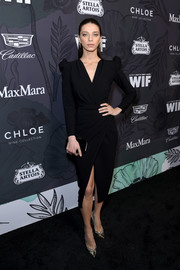 Angela Sarafyan was classic in a little black wrap dress by Rhea Costa at the Women in Film Oscar nominees party.