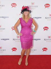 Vicki Gunlavson was definitely an attention grabber in this fuchsia lace cocktail dress.