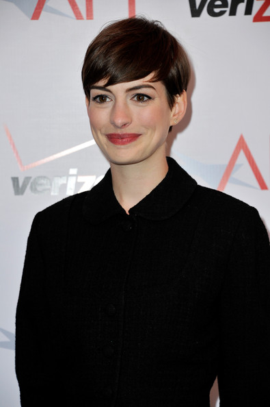 More Pics of Anne Hathaway Pixie (1 of 10) - Anne Hathaway Lookbook - StyleBistro [hair,face,hairstyle,forehead,eyebrow,bangs,chin,lip,black hair,pixie cut,arrivals,anne hathaway,beverly hills,los angeles,california,afi awards,four seasons]