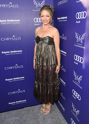 Rebecca Gayheart went to the Chrysalis Butterfly Ball looking boho-cute in a silver strapless dress.