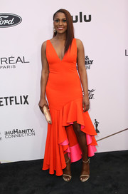 Issa Rae completed her outfit with beige ankle-strap sandals.