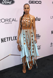 Kerry Washington rounded out her look with brown ankle-strap sandals by Loriblu.
