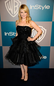 Melissa Rauch wore a strapless frou-frou dress for the Golden Globe's after-party.