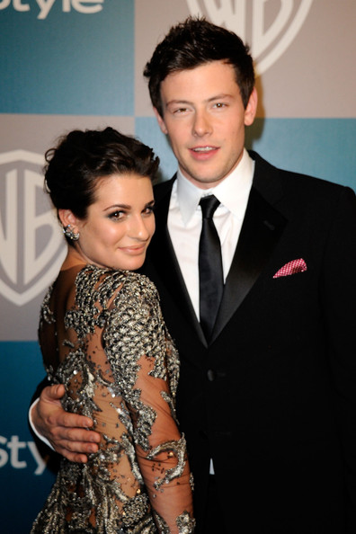 More Pics of Lea Michele Box Clutch (1 of 6) - Lea Michele Lookbook - StyleBistro [suit,hairstyle,event,formal wear,premiere,smile,tuxedo,lea michele,cory monteith,instyle golden globe awards,hotel,beverly hills,california,the beverly hilton,warner bros,arrivals,party]