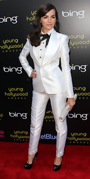 Camilla Belle teamed her white tux with smart black patent Cachet platforms.