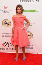 Sarah Hyland looked very ladylike in a coral off-the-shoulder dress during the Kentucky Derby Unbridled Eve Gala.