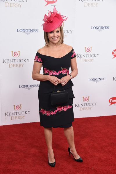 More Pics of Katie Couric Off-the-Shoulder Dress (1 of 4) - Dresses & Skirts Lookbook - StyleBistro [red carpet,clothing,pink,dress,carpet,red carpet,shoulder,cocktail dress,flooring,premiere,magenta,katie couric,churchill downs,louisville,kentucky,kentucky derby]