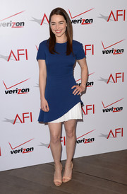 Emilia Clarke went for simple chic with this blue and white Victoria Beckham dress during the AFI Awards.