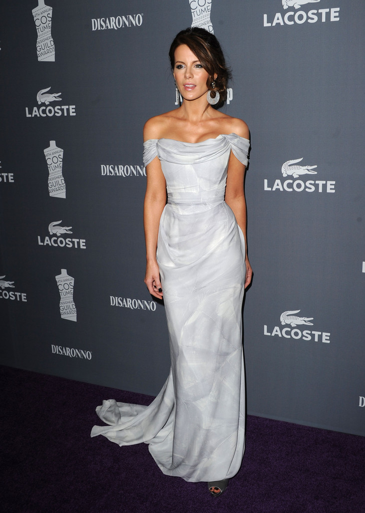 Actress Kate Beckinsale arrives at the 14th Annual Costume Designers Guild Awards With Presenting Sponsor Lacoste held at The Beverly Hilton hotel on February 21, 2012 in Beverly Hills, California.